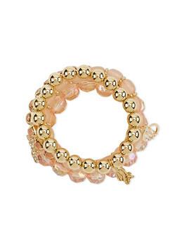 Set of 5 Bracelets with Rhinestone Bow Charm - 1193072698002