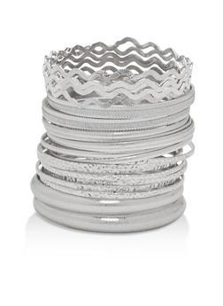 Plus Size Textured Rhinestone Bangles - 1193072699332