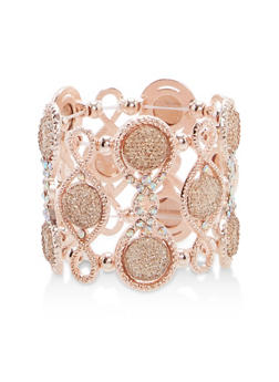 Rhinestone Metallic Stretch Bracelet - 1193073841478