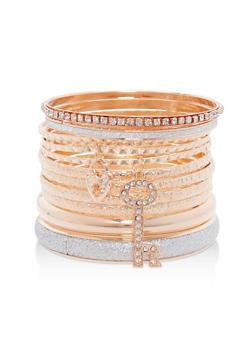 Plus Size Glitter Rhinestone Charm Bracelets - 1193073841565