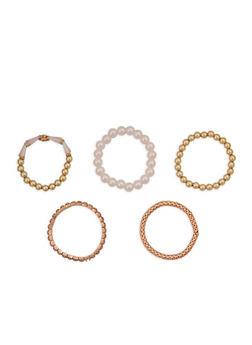 Faux Pearl Metallic Mesh Stretch Bracelets - 1194003200248