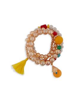 3 Row Beaded Charm Bracelet - 1194003201108