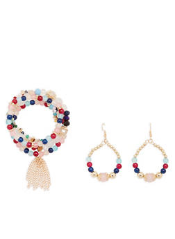 Multi Color Beaded Stretch Bracelets and Earrings - 1194003201153