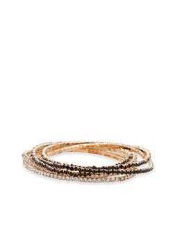 Set of 6 Rhinestone Stretch Bracelets - 1194018435821