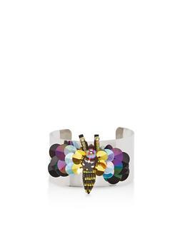 Beaded Sequin Bumblebee Cuff Bracelet - 1194018438076