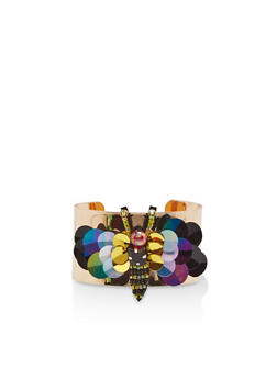 Beaded Sequin Bumblebee Cuff Bracelet - 1194018438076