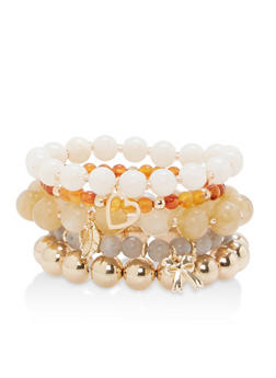 Beaded Charm Stretch Bracelets - 1194035150952