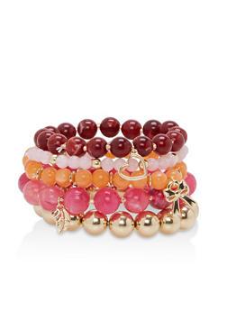 Beaded Charm Stretch Bracelets - 1194035150952