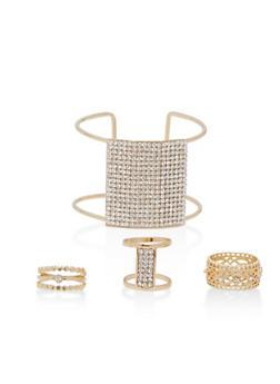Rhinestone Cuff Bracelet with Rings - 1194035151750
