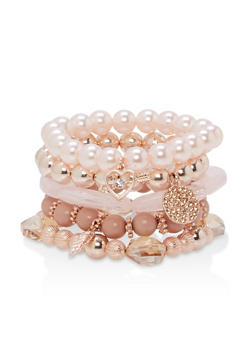 Faux Pearl Beaded Charm Stretch Bracelets - 1194035152384