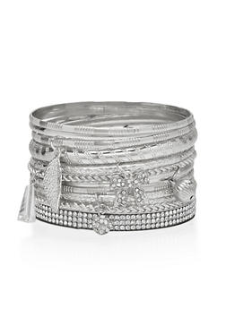 Rhinestone and Multi Textured Charm Bangles Set - 1194035152748