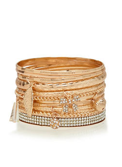 Rhinestone and Multi Textured Charm Bangles Set - 1194035152748