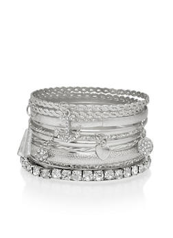 Set of 12 Rhinestone and Textured Bangles - 1194035152751