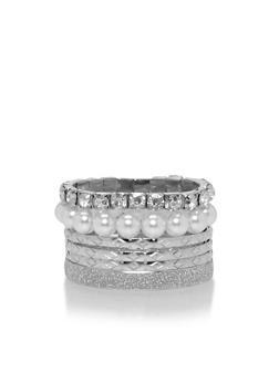 Assorted Set of Glitter Pearl Rhinestone Bracelets - 1194035153591