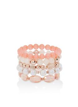 Set of 5 Beaded Stretch Bracelets - 1194035153781