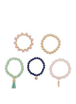 Set of 5 Beaded Stretch Bracelets - 1194035156416