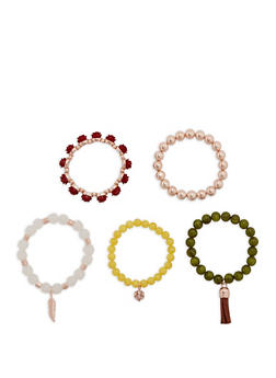 Set of 5 Beaded Stretch Bracelets - 1194035156416