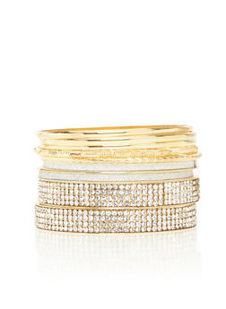 Set of Assorted Rhinestone Encrusted Bangles - 1194057695376