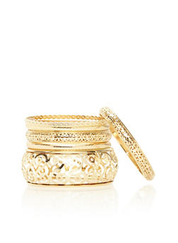 Plus Size Set of Laser Cut and Etched Bangles - 1194057699932