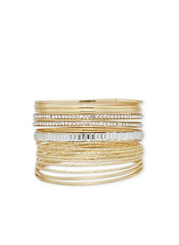 Set of Textured and Rhinestone Encrusted Bangles - 1194062815407