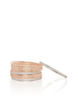 Set of 18 Etched and Glitter Bracelets - 1194062819356
