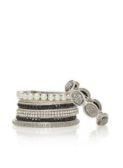Set of 9 Assorted Textured and Rhinestone Bangles - 1194062920635