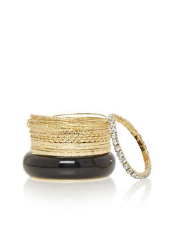 Plus Size Chunky Bangle with Assorted Skinny Bangles - 1194062920638