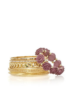 Set of 7 Assorted Curb Chain and Rose Bangles - 1194062920647