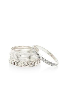 11 Piece Set of Rhinestone Chain Bangle Bracelets - 1194062920662