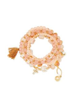 6 Piece Multi Beaded Heart Tassel Bracelet Set - 1194062920872
