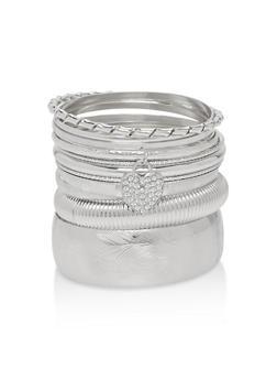 Plus Size Textured Metallic Bangles - 1194062921253