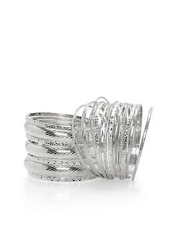Plus Size Set of 24 Textured Bangles - 1194062921445