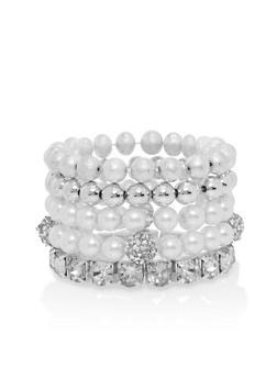 Set of 5 Rhinestone and Faux Pearl Stretch Bracelets - 1194062922574