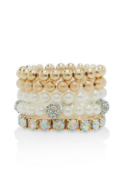 Set of 5 Rhinestone and Faux Pearl Stretch Bracelets - 1194062922574