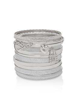 Plus Size Metallic Charm Bangles - 1194062922602