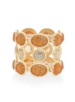 Caged Metallic Rhinestone Stretch Bracelet - 1194062923181