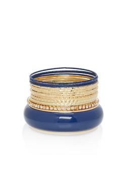 Plus Size Colored Rhinestone Bangles - 1194062924076
