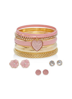 Plus Size Bangles and Stud Earrings Set - 1194062924693