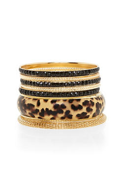 Plus Size Set of Mesh and Leopard Bangles - 1194062925079