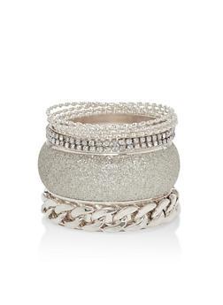 Plus Size Glitter Cuff Bracelet Set - 1194062925276