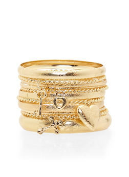 Plus Size 11 Piece Bangle Set with Charms - 1194062925407