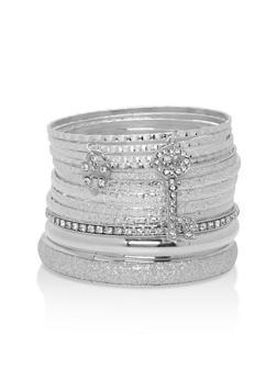 Set of Glitter and Rhinestone Bangles - 1194062927607