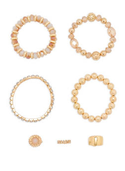 Set of 4 Beaded Metallic Stretch Bracelets and Rings - 1194062928540