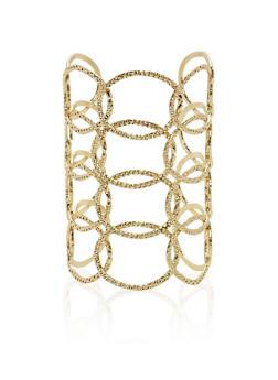 Textured Link Open Cuff Bracelet - 1194062928567