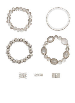 Set of 4 Beaded Metallic Stretch Bracelets and Rings - 1194062928673