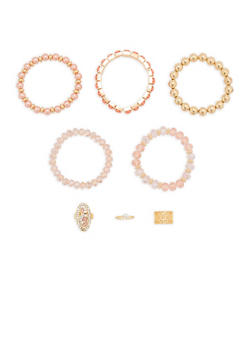 Set of 5 Beaded Rhinestone Stretch Bracelets with Rings - 1194062928691