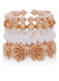Set of 5 Beaded Stretch Bracelets - 1194071430175