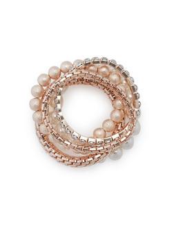 5 Piece Stretch Pearl Rhinestone Bracelets - 1194072691188
