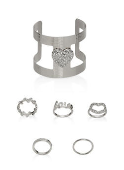 Rhinestone Cuff Bracelet and Rings - 1194072691388