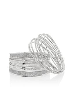 Multi Textured and Glitter Bangle Set - 1194072691961